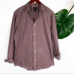 H & M Men's Plaid Button Up Roll Sleeve Shirt L